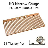 CopperHead HO Scale Narrow Gauge PC Board Turnout Ties - 1/16