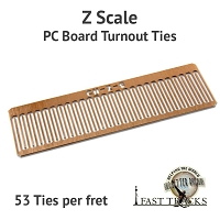 CopperHead Z Scale PC Board Turnout Ties - 1/32