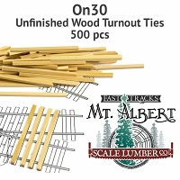 On30 Unfinished Wood Turnout Ties - 500 pcs