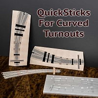 QuickSticks Laser Ties HO, #10 60/46R Curved Turnouts - Drilled
