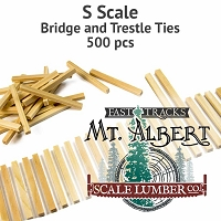 S Scale, Unfinished Wood Bridge and Trestle Ties - 500 pcs