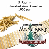 S Scale, Unfinished Wood Crossties - 1000 pcs