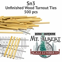 Sn3 Unfinished Wood Turnout Ties - 500 pcs