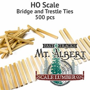 HO Scale, Unfinished Wood Bridge and Trestle Ties - 500 pcs