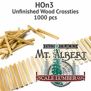 HOn3 Unfinished Wood Crossties - 1000 pcs