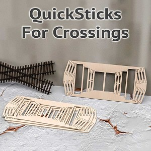 QuickSticks Laser Cut Ties For HO Scale, 30° Crossings - Drilled