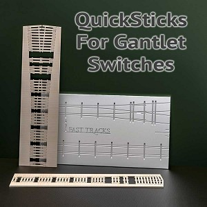 QuickSticks Laser Cut Ties For HO, #6 Gantlet Turnouts - Drilled