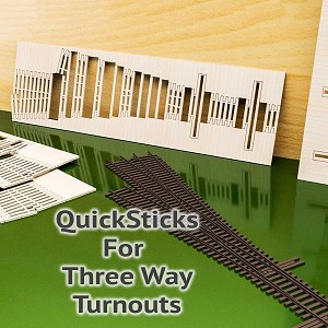 QuickSticks Laser Cut Ties For HO Scale, #6 3-Ways - Drilled