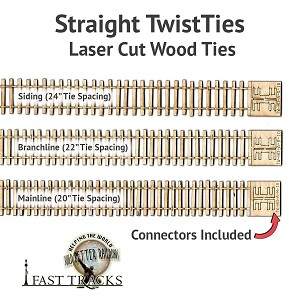 "S Scale Siding, 10"" Fixed TwistTies Crosstie Strips"