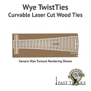Curvable Laser Cut Wood Ties For HO Scale, #6 Wyes