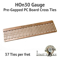 CopperHead HOn30 PC Board Pre-Gapped Crossties - 1/16