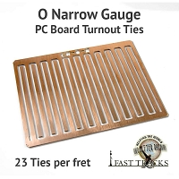 CopperHead O Scale Narrow Gauge PC Board Turnout Ties - 1/16