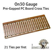 CopperHead On30 PC Board Pre-Gapped Crossties - 2.5mm