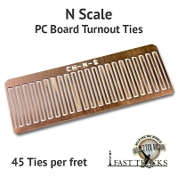 CopperHead N Scale PC Board Turnout Ties - 1/32