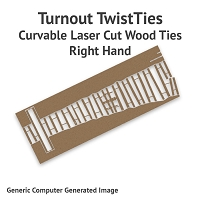 Curvable Laser Cut Wood Ties For Sn2 #4 Turnouts - Right