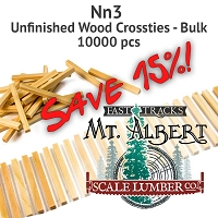 Nn3 Unfinished Wood Crossties - 10000 pcs