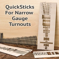 QuickSticks Laser Cut Ties For HOn3 #8 Turnouts - Drilled