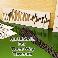 QuickSticks Laser Cut Ties For S Scale, #6 3-Ways - Drilled
