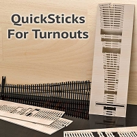 QuickSticks Laser Cut Ties For S, #7 Turnouts - Drilled