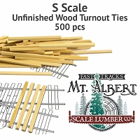 S Scale, Unfinished Wood Turnout Ties - 500 pcs