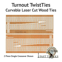 Curvable Laser Cut Wood Ties For HO Scale, #10 Crossovers - Right
