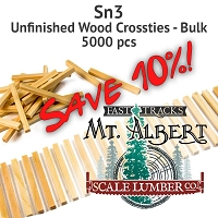 Sn3 Unfinished Wood Crossties - 5000 pcs