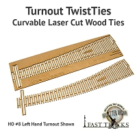 Curvable Laser Cut Wood Ties For S Scale, #4 Turnouts - Right