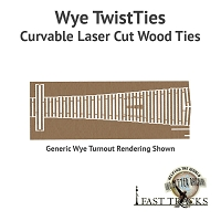 Curvable Laser Cut Wood Ties For S Scale, #4 Wyes