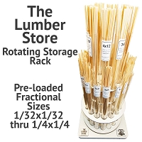 The Lumber Store Rotating Storage Rack Including Fractional Sizes 1/32x1/32 through 1/4x1/4