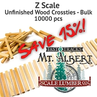 Z Scale, Unfinished Wood Crossties - 10000 pcs