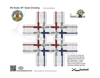 HO Scale Diamond Line 90 degree quad crossing template