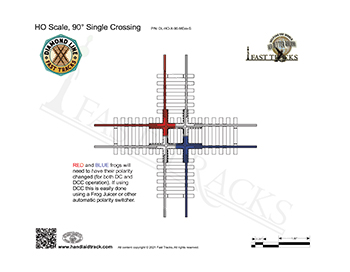 HO Scale Diamond Line 90 degree crossing template