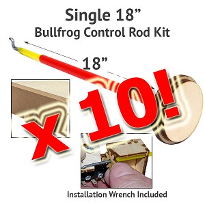 10 Pack Control Rod Kit for BullFrogs-18""