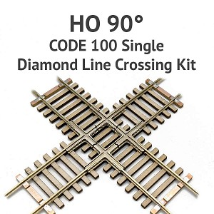 Diamond Line HO Scale, 90° Code 100 Single Crossing kit