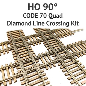 Diamond Line HO Scale, 90° Code 70 Quad Crossing kit