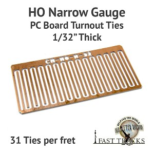 CopperHead HO Scale Narrow Gauge PC Board Turnout Ties - 1/32""