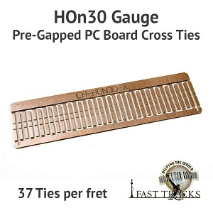 CopperHead HOn30 PC Board Pre-Gapped Crossties - 1/16""