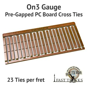 CopperHead On3 PC Board Pre-Gapped Crossties - 2.5mm