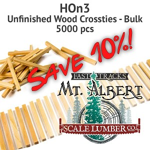 HOn3 Unfinished Wood Crossties - 5000 pcs