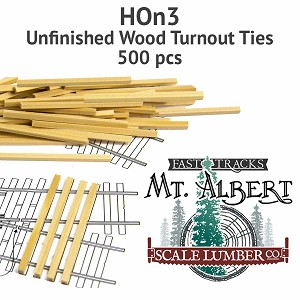 HOn3 Unfinished Wood Turnout Ties - 500 pcs