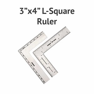 "Stainless Steel 3"" x 4"" L-Square Ruler"