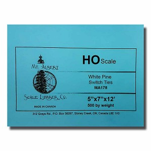 HO Scale 12' White Pine Switch Tie 500 pcs