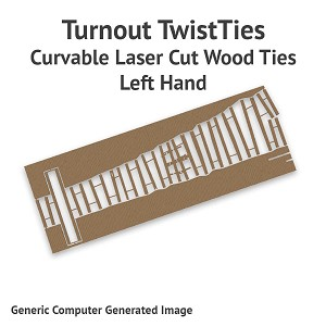 Curvable Laser Cut Wood Ties For HOn30 #7 Turnouts - Left