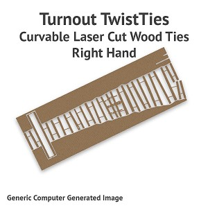 Curvable Laser Cut Wood Ties For Sn3 #8 Turnouts - Right