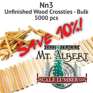 Nn3 Unfinished Wood Crossties - 5000 pcs