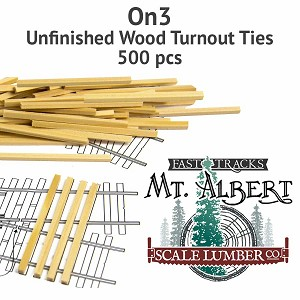 On3 Unfinished Wood Turnout Ties - 500 pcs