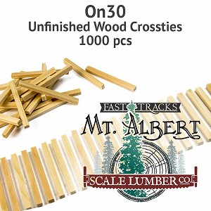 On30 Unfinished Wood Crossties - 1000 pcs