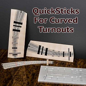QuickSticks Laser Cut Ties For N, #6 30R/18R Curved Turnouts