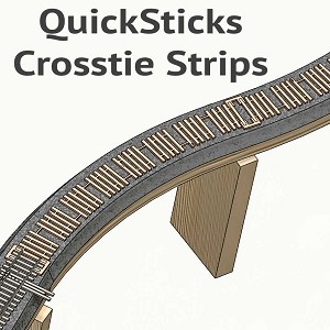 "Nn3 Branchline, 10"" Fixed QuickSticks Tie Strips"