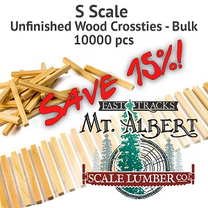 S Scale, Unfinished Wood Crossties - 10000 pcs